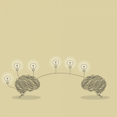 brain icon: Illustration of brain transfer light bulb ideas concept Illustration