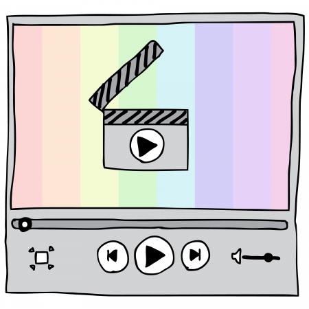 windows media video: Ilustraci�n de dibujado a mano del reproductor de v�deo con el arco iris de fondo Vectores