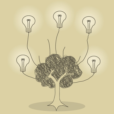 Illustration of tree and light bulb idea concept