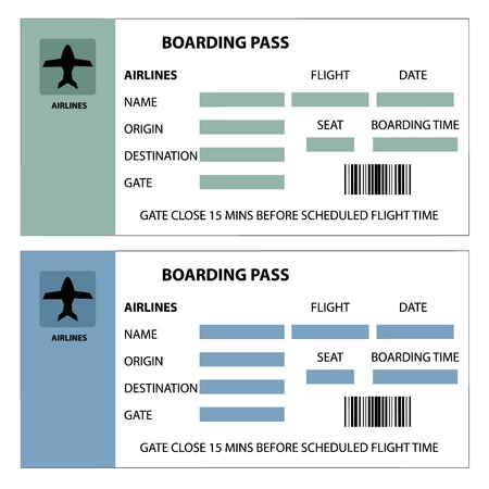 boarding card: Illustration of two boarding passes on white background