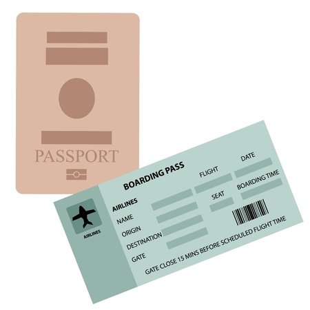 people traveling: Illustration of passpoart and boarding pass on white background