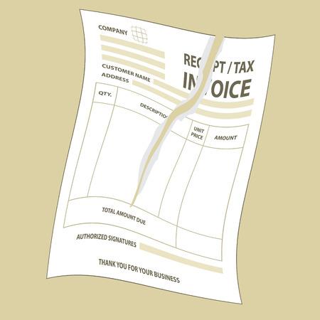 Illustration of twist torn tax invoice form Vector