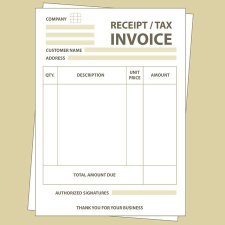 Illustratie van unfill papier fiscale factuur vorm