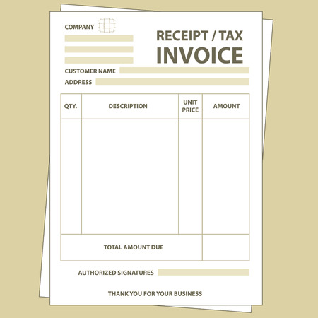 Illustration of unfill paper tax invoice form