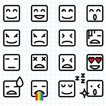 Illustration of a set of square face emoticon icon Vector