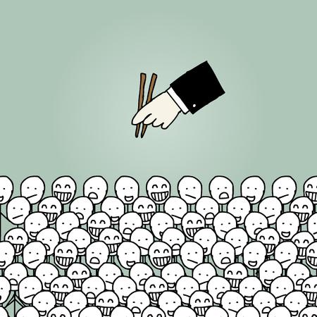 job recruitment: Illustration of hand drawn cartoon recruitment concept