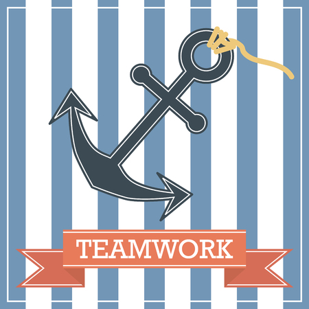anchor background: Anchor icon with teamwork sign on stripe background Illustration