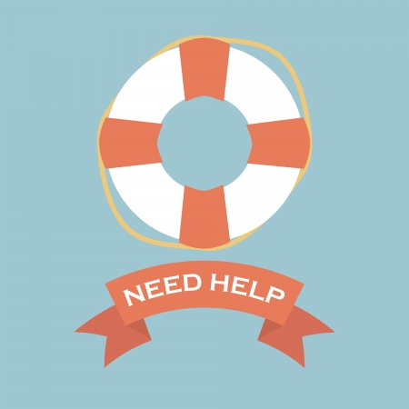life ring: Life Saver with need help banner sign