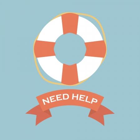 Salvavidas con signo necesidad ayuda bandera