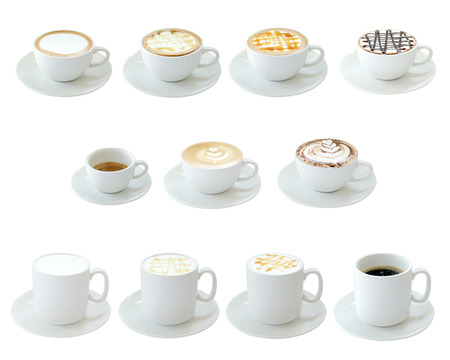 latte: Set of hot drinks isolated on white background