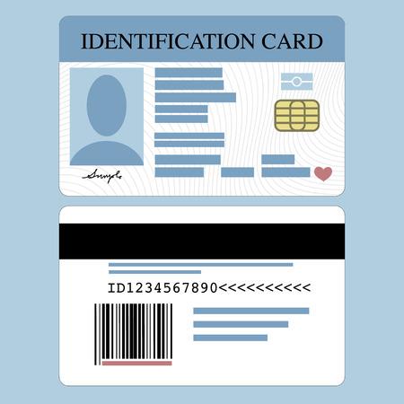 Illustrazione della parte anteriore e carta d'identità indietro