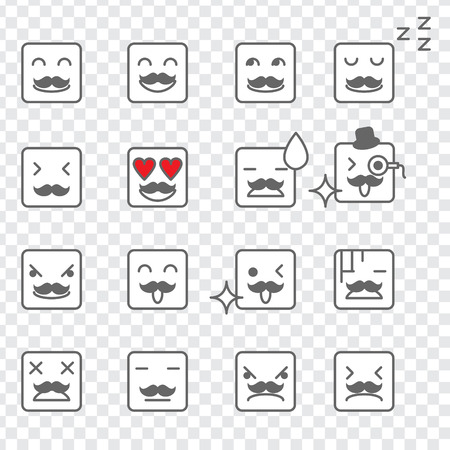 throw up: Illustration of a set of square face emoticon