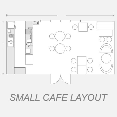 floor plans: Illustration of small cafe layout line design
