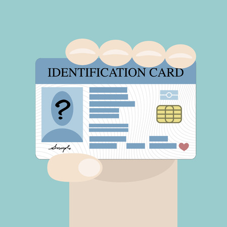identify: Illustration of hand holding the id card Illustration