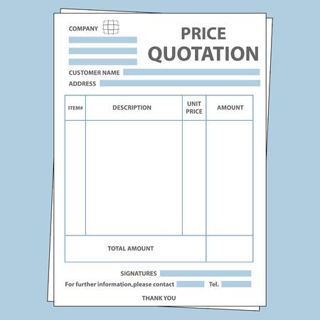 Illustration de formulaire vierge prix de vente de cotation Vecteurs