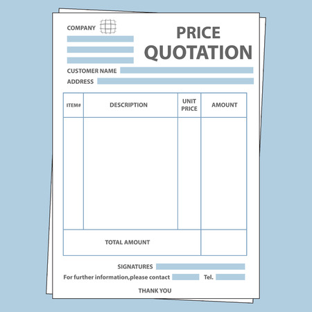 billing: Illustration of blank sale price quotation form