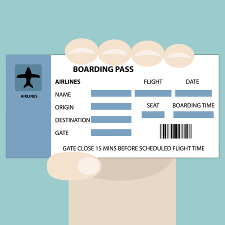 hand holding id card: Illustration of hand showing a boarding pass Illustration