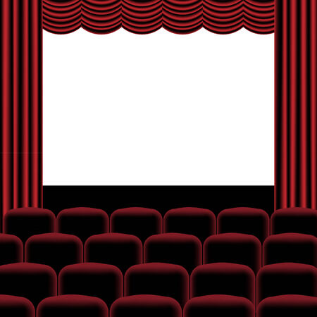 musical theater: Illustration of theatre with red curtain, seats and blank screen