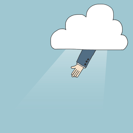 rise fall: Illustration of hand raising from the cloud Illustration