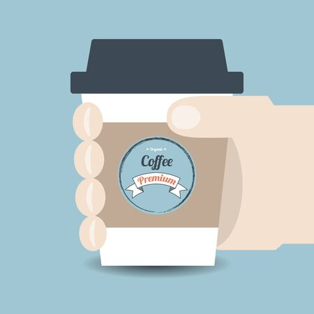 paper cup: Illustration of hand holding paper cup of beverage