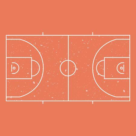 basketball court: Illustration of orange gunge basketball court layout Illustration