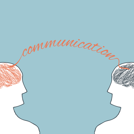 Illustration of two person with communication concept
