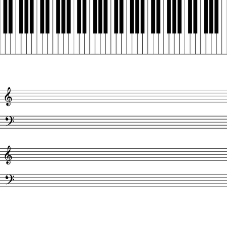 piano: Illustration of piano key and blank music sheet Illustration