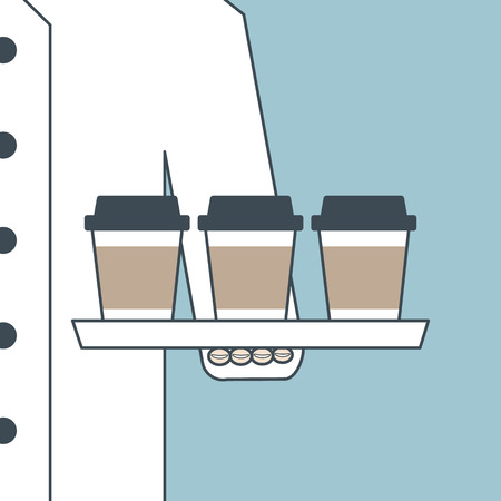 take away: Illustration of chef in unifrom serving coffee Illustration