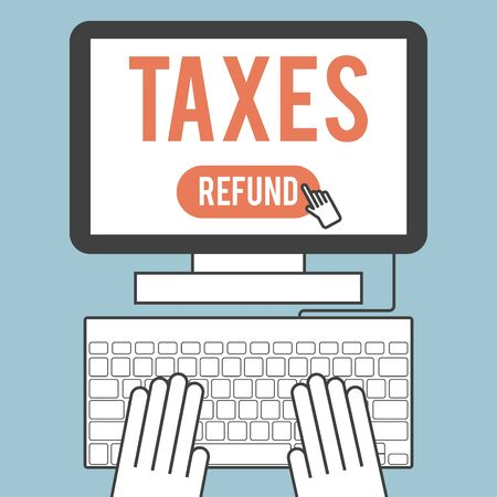 online form: Illustration of the word  taxes on computer screen Illustration