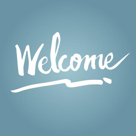 Illustratie van de hand te schrijven van het woord welkom Stock Illustratie
