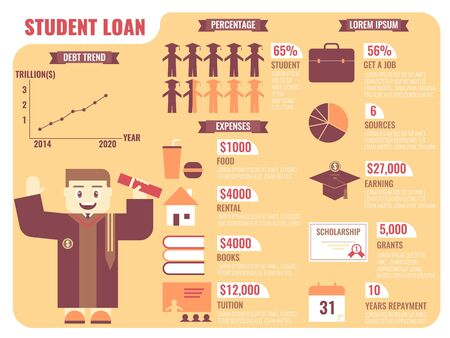 undergraduate: Illustration of infographic of student loan concept