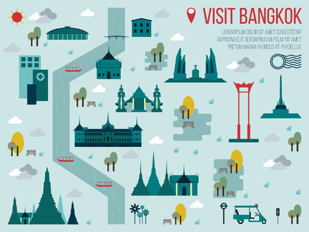 Illustration of Visit Bangkok Travel Map Concept Çizim
