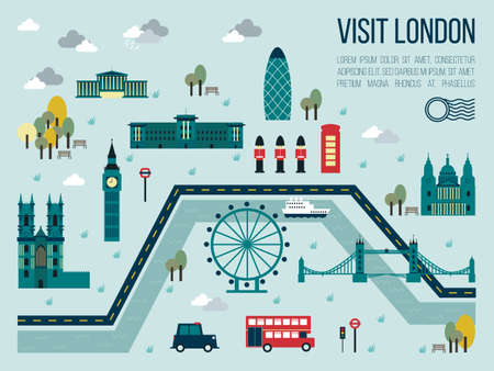 tower of london: Illustration of visit london map in travel concept