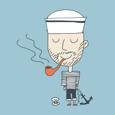 smoker: Illustration of smoker happy sailor standing with a shell