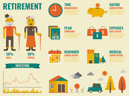 ingresos: Ilustración de la jubilación infografía con las personas mayores y elementos icono