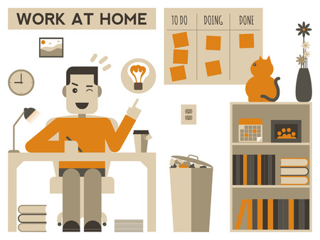 working animals: Illustration of a happy man working at home Illustration