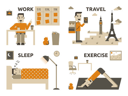 snore: Illustration of graphic design work life balance concept Illustration