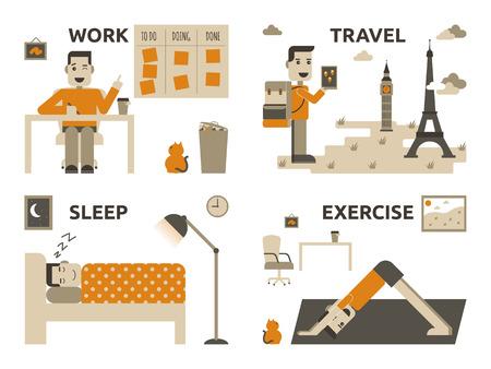 life balance: Illustration of graphic design work life balance concept Illustration