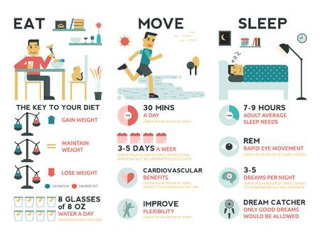 concepto equilibrio: Ilustraci�n de infograf�a del concepto de conciliaci�n de la vida: comer, moverse y los elementos del sue�o Vectores