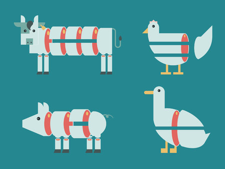 duck meat: Illustration of Cow, pig, chicken and duck with graphic meat cut
