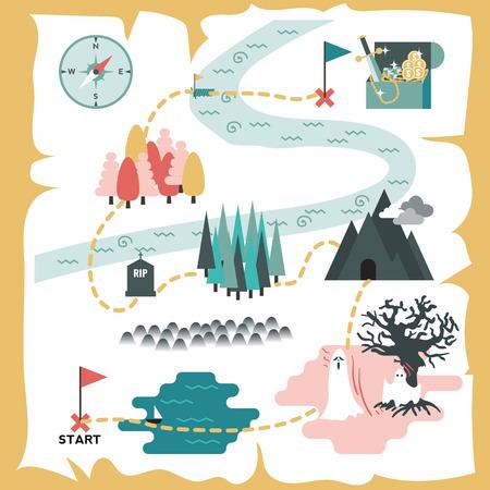 mapa del tesoro: Ilustración de mapa del tesoro creativo diseño plano