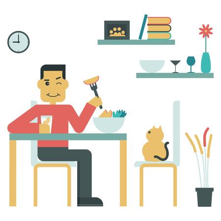 eat: Illustration of young man eat salad at home Illustration
