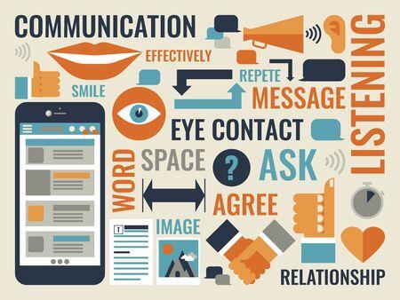 effectively: Illustration of communication infographic icon Illustration