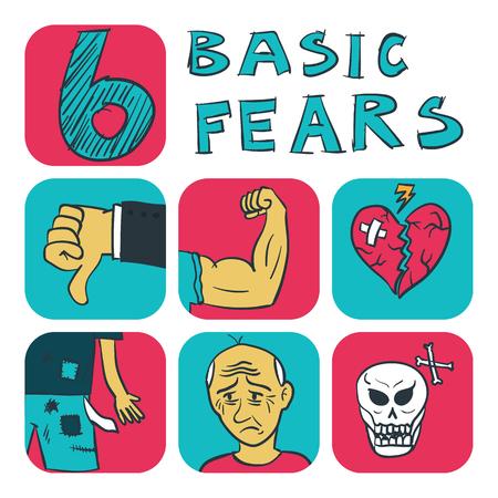 instinct: Illustration of hand drawn six basic fears concept