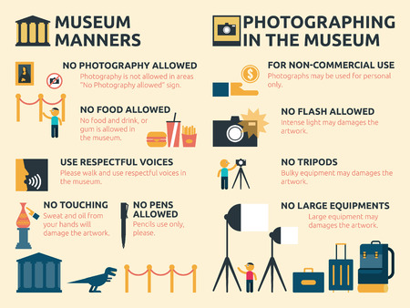 manners: Illustration of museum manners