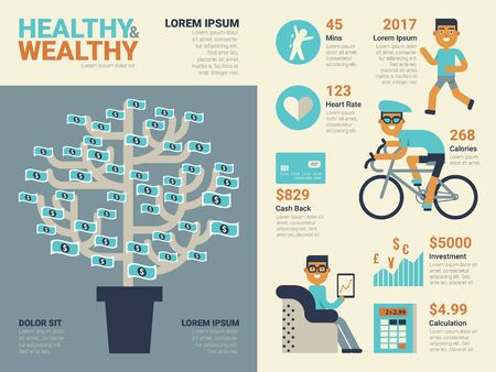 home finances: Illustration of healthy and wealthy infographic concept with elements and icons