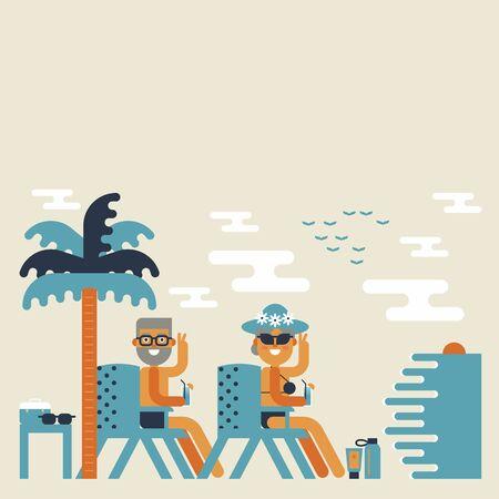 happy retirement: Illustration of retirement elderly couple enjoy on the beach