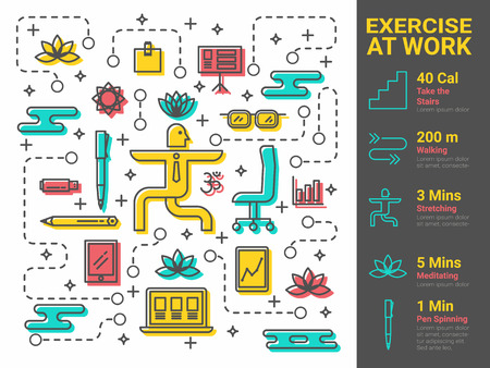 health icons: Illustration of xercise at work infographic concept Illustration