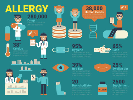 sore eye: Illustration of allergy concept with infographic elements and icons