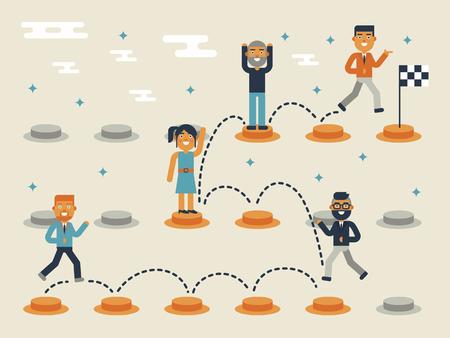 jumping: Ilustración de saltar en el camino, el concepto de liderazgo